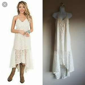Flying Tomato Lace Ivory High Low Dress